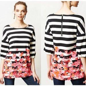 Postmark Anthro Black & White Stripe Floral Tunic